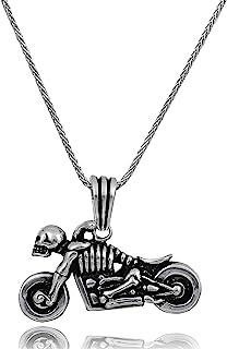 男士项链,925 纯银,60.96 厘米银链长,男士珠宝项链,摩托车设计吊坠,摩托车配件吊坠,骷髅自行车主题