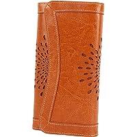 女士钱包油蜡皮革手拿包长款女士信用卡收纳袋镂空向日葵设计