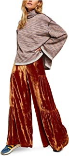 Free People 女式 Say La Vie 阔腿天鹅绒长裤 - 棕色/橙色 8 码