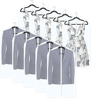 透明悬挂服装储物袋全拉链西装袋透气防尘服装罩适用于衣橱和布料储存防水防尘(10 件套)