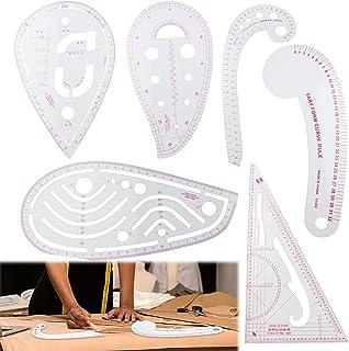 6 种款式法国公制标尺,透明缝纫曲线公制形状尺子测量梳妆绘图绘图模板 DIY 缝纫尺套装非常适合设计师、图案制作和裁缝