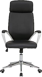 Calico Designs 高背、高度和倾斜可调,现代行政椅,带衬垫扶手和镀铬底座,白色/黑色 PU
