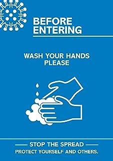 """SECO Coronaviry基本海报-""""进入前 - 洗手"""",A4,蓝色和白色"""