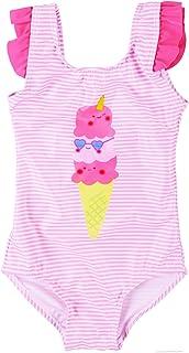 Maketina 幼童女婴泳装荷叶边无袖泳装连体泳衣