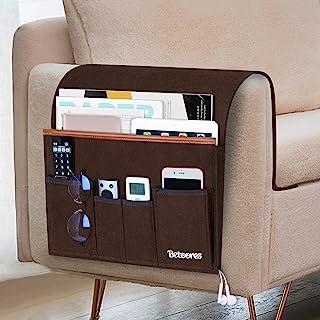 Betoores 沙发扶手收纳架遥控器,扶手椅躺椅,Cadyyy,带 5 个口袋,可放置 iPad、智能手机、杂志 - 棕色
