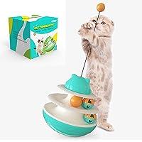 HANAMYA 2 层轨道塔猫玩具 带猫球   玻璃猫玩具   转盘猫玩具 绿松石蓝