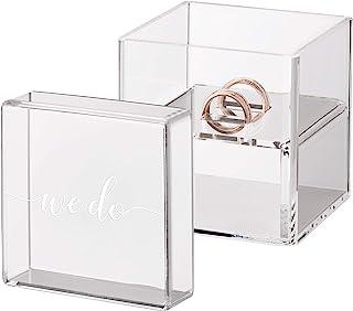 Lillian Rose 透明亚克力盒式戒指枕头,3.25 英寸 x 3.25 英寸 x 3.15 英寸