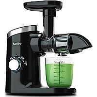 慢速榨汁机,Aeitto 粉碎榨汁机,榨汁机,冷压榨汁机,带 2 档速度模式,榨汁机带反向功能和静音电机,适用于蔬菜和水…