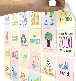 mcSquares 10.16x10.16 cm 明亮干擦便利贴 | 24 件装多色可重复使用白色板贴纸带免费粘性标记