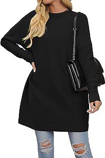 Welaneol 女式超大毛衣圆领落肩蝙蝠袖针织毛衣秋季套头上衣