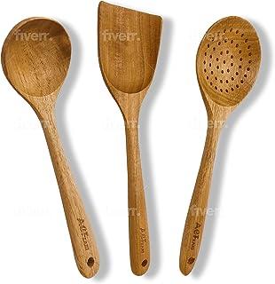 木制厨具套装,厨房用具,木质烹饪勺子,成对汤勺,防滑硬木抹刀