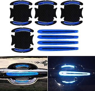 车门杯把手 油漆防刮贴纸 3D碳纤维通用车门把手 防刮保护罩 保护膜车门把手 *反光条 (蓝色, 8片)
