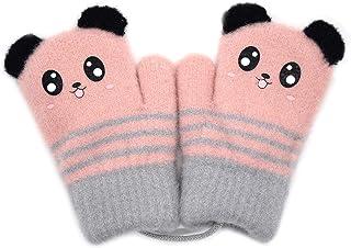 可爱熊猫儿童冬季连指手套适合幼儿女孩男孩针织保暖弹性羊毛衬里手套手套