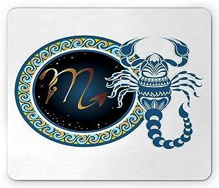 Ambesonne Zodiac Scorpio 鼠标垫,波浪图案和装饰蝎子,矩形防滑橡胶鼠标垫,标准尺寸,棕色靛蓝色