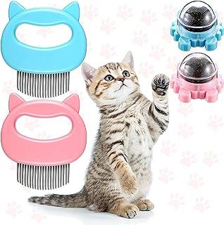 4 件猫梳和猫薄荷球套装 猫咪按摩梳 宠物壳梳和可旋转银质 Matatabi 球可食用小猫牙齿清洁玩具 适用于宠物猫猫猫猫