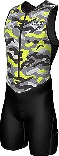 Sparx X 铁人三项套装男式赛车三项骑行皮肤套装自行车游泳跑步(霓虹迷彩,XL)