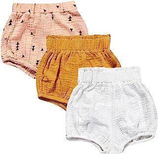 Mary ye 女婴 3 件装棉麻混纺可爱灯笼裤短裤