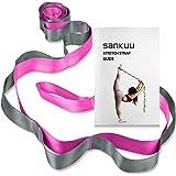 SANKUU 瑜伽带,多环带,12 圈瑜伽伸展带,非弹性拉伸带,用于物理*、普拉提、舞蹈和体操,带携带包