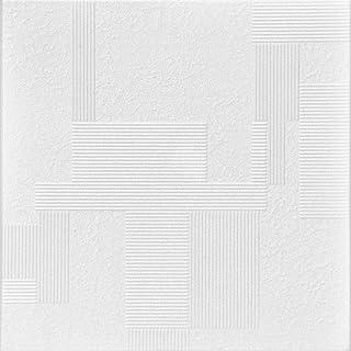 A la Maison 天花板 R187 Vectors 泡沫胶粘天花板瓷砖(128 平方英尺/箱),纯白色