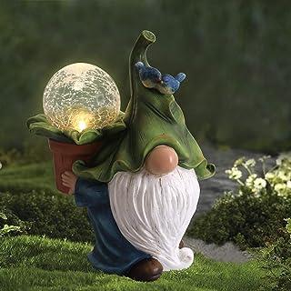 LA JOLIE MUSE 花园小矮人雕像 - 带太阳能 LED 灯的树脂小矮人雕像,户外秋冬季圣诞节装饰庭院草坪门廊装饰品,装饰礼品