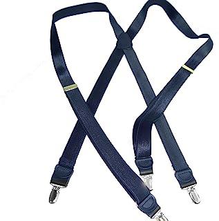 Hold-Ups 缎蓝色 2.54 厘米宽正式背带 X 型背带 银色扣