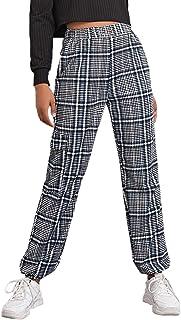 WDIRARA 女式中腰前拉链方格林汉姆紧身裤时尚格子打底裤
