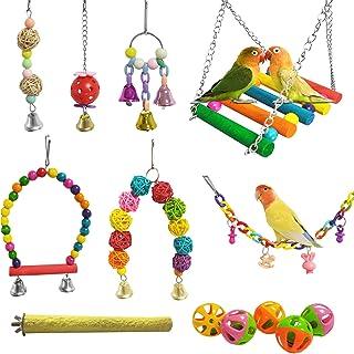 E-KOMG 13 包鸟秋千玩具,鹦鹉咀嚼悬挂式栖息地带铃铛,宠物鸟笼玩具,适合小型长尾鹦鹉、爱鸟、凤鹦鹉、金刚鹦鹉、翅雀