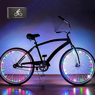 JUNCAI LED 自行车轮灯(2 个轮胎包装),自行车车轮灯前后防水易于安装,男孩青少年儿童礼物 - 含电池
