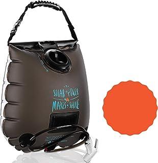 户外卫生5加仑太阳能淋浴露营淋浴水暖便携式夏季露营装备食品级TPU材料环保*淋浴袋适用于海滩游泳户外旅行。