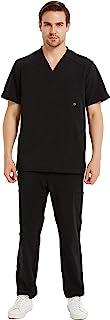 WXNDER 男式**服套装 - 专业工作服制服 11 个口袋 V 领上衣裤子弹力舒适两件套