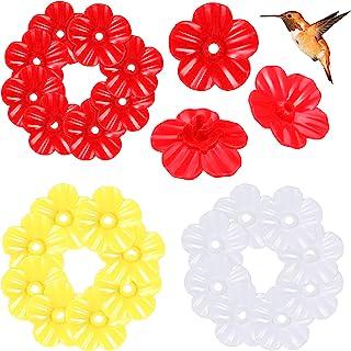 24 件蜂鸟喂食器替换花鸟喂食器替换零件悬挂喂食端口替换件蜂鸟喂食器户外装饰,1.18 英寸,白色,黄色,红色