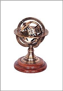 黄铜 Armillary Sphere Astrolabe 木制底座海洋航海收藏品