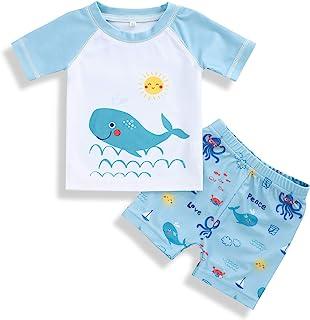幼儿男婴两件套泳衣套装泳装恐龙泳衣*服带帽子游泳衣