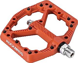 ROCKBROS 山地自行车踏板 平面 MTB 踏板 尼龙纤维 自行车平台踏板 适用于公路山地 BMX 山地自行车
