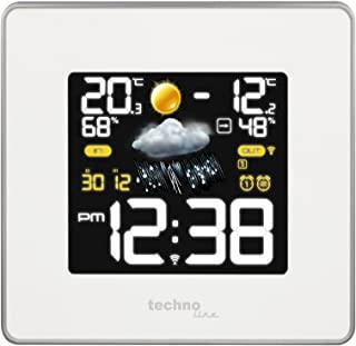 Technoline WS 6440 现代气象站,带无线电时钟,温度,空气湿度,气压显示,包括TX96-TH-TW003发射器,433 MHz发射频率,白色,14.8x5.4x13.7厘米