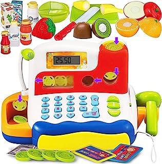 FUNERICA 耐用儿童收银机玩具 | 带电子声音、麦克风、扫描仪、计算器、假扮游戏食品玩具、可切割水果、出纳玩具、玩钱和杂货玩具