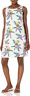 28 Palms 女式 * 亚麻夏威夷印花无袖直筒连衣裙带口袋