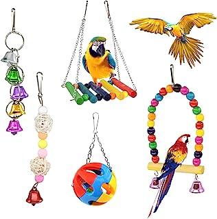 WishLotus 鸟鹦鹉玩具,5 件鸟秋千玩具鸟咀嚼玩具彩色宠物鸟玩具带木悬挂支架梯子秋千桥和挂铃,适用于小鸟、鹦鹉、鹦鹉、鹦鹉鹦鹉鹦鹉(5 件)