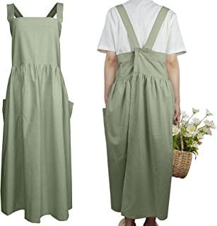 棉质交叉后背女式围裙厨房厨师花店工作服女士女孩带口袋