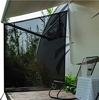 Dulepax RV 遮阳篷 9'X7'●房车侧遮阳篷使用黑色刀涂层网眼屏幕与完整配件●房车遮阳篷屏幕阻挡约 86% 的紫外线● 3 年保修(黑色)