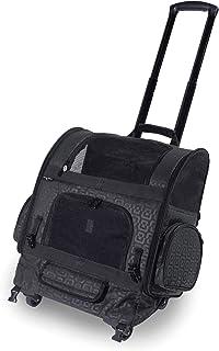 Gen7Pets Geometric Roller-Carrier Backpack, Black, Medium