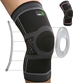 TechWare 专业护膝 - *佳护膝,侧边稳定器和膝盖骨凝胶垫,用于护膝。 *、薄荷糖泪珠、关节*缓解和运动*恢复。 Single 对开式 黑色