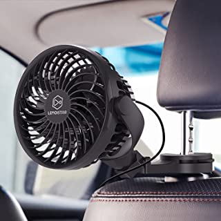 LEMOISTAR USB 供电的 5V 汽车风扇,强大的 4 速静音通风风扇,带夹子/钩/吸盘,便携式汽车风扇适合后座乘客婴儿狗(仅 USB 供电)