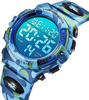 儿童手表,蓝色迷彩男孩运动手表 LED 数字*户外多功能 LED 50M 防水闹钟日历手表,带硅胶表带