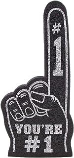 FUNSTITUTION Finger You're Number 1 泡沫手适用于所有场合 啦啦队绒球适用于运动激动人心的颜色运动当地体育活动游戏学校商务庆祝 Pom Poms 18 大号泡沫