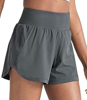ZUTY 女士跑步短裤速干运动锻炼健身房短裤带衬里拉链口袋