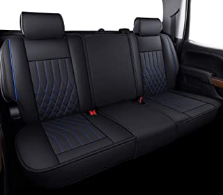 Aierxuan Silverado Sierra 后座套防水皮革,适合 2007-2021 1500/2500 HD / 3500 HD 船员,双人,扩展驾驶室或皮卡车(黑色和蓝色,后座)
