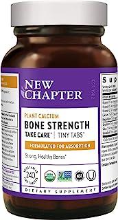 New Chapter 钙补充剂(细小标签)–骨头强度全食物钙,含维生素K2 + D3 +镁,素食,无麸质– 240粒