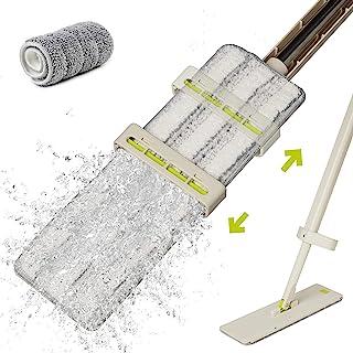 HoMettler 免手持拖把,自拧微纤维拖把,带可水洗垫,适用于硬木、瓷砖,360 度懒散平底拖把,适用于干湿两用