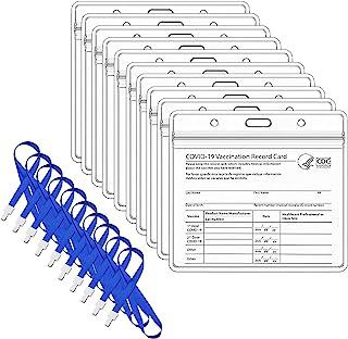CDC 疫苗接种卡保护套 10.16 X 7.62 厘米,*记录卡片夹,透明乙烯基塑料封面,水平徽章,防水拉链或活动和旅行(10)